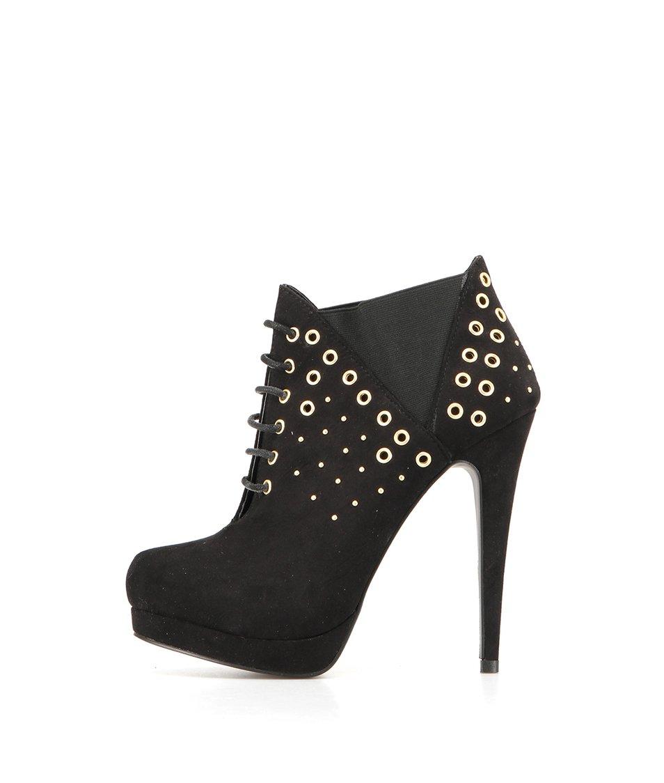 Černé boty na podpatku s aplikacemi Timeless