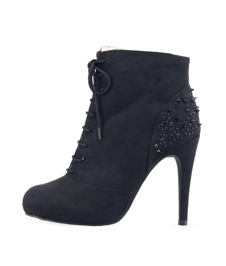 Černé kotníčkové boty Victoria Delef s ostny na patě
