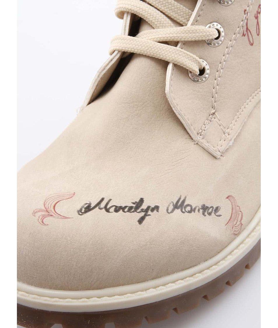 Béžové dámské vyšší boty Dogo Marilyn Monroe