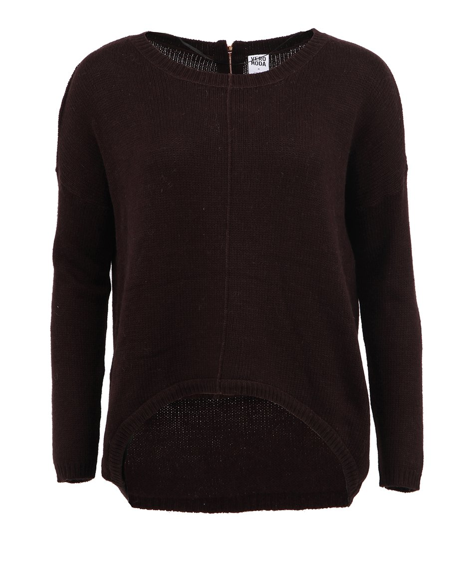 Tmavě hnědý svetr s angorou Vero Moda Janelle