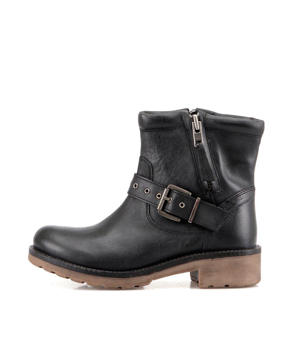 Černé kožené kotníkové boty s páskem London Rebel Vinny