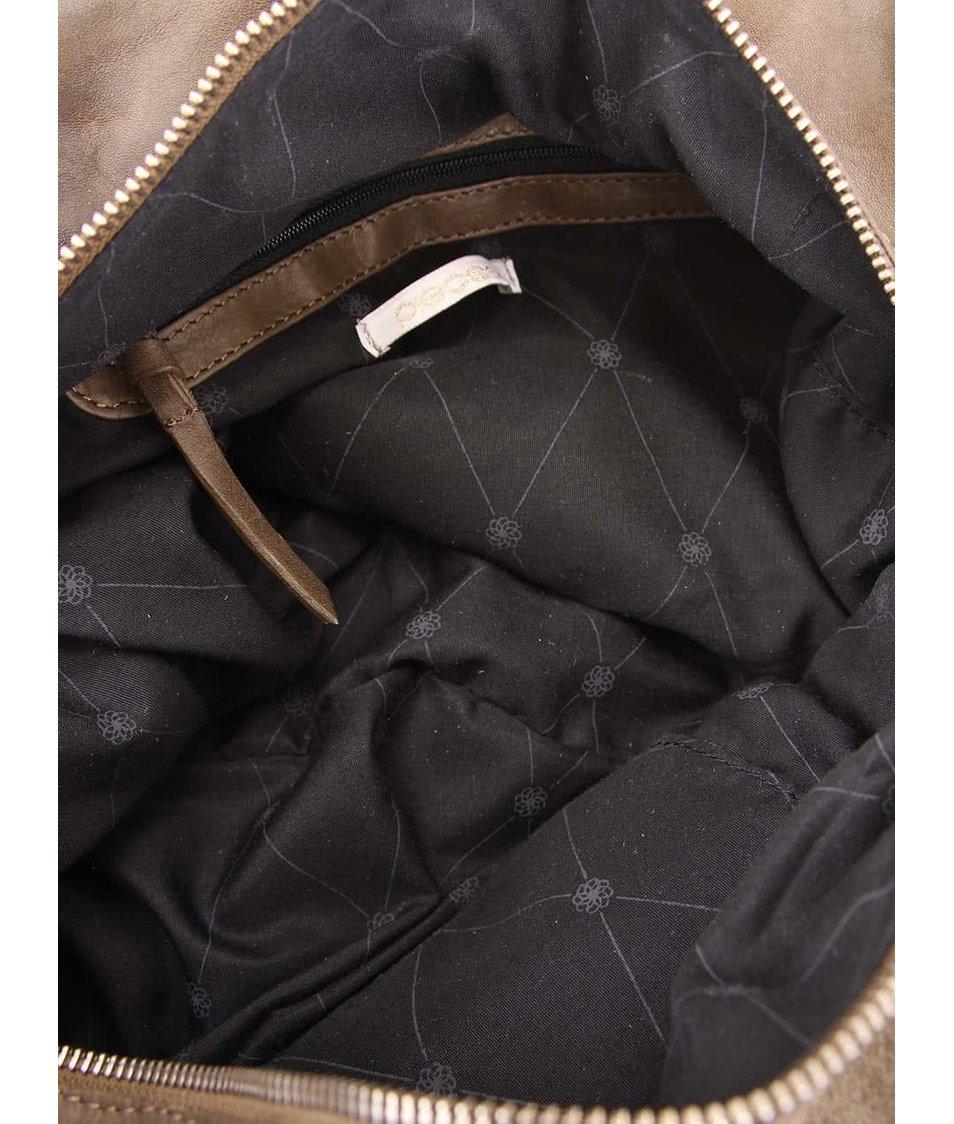 Hnědá kožená kabelka Pieces Kissa