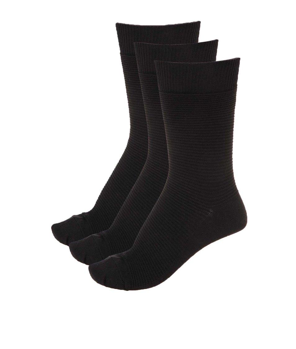 Sada tří párů černých vroubkovaných ponožek Jack & Jones Fipo