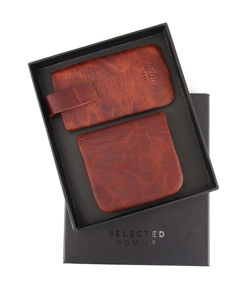 Tmavě hnědý kožený obal na mobil a peněženka Selected Homme Anton