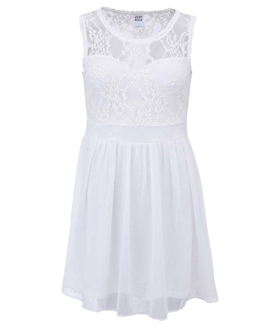 Bílé šaty s krajkou Vero Moda Neja