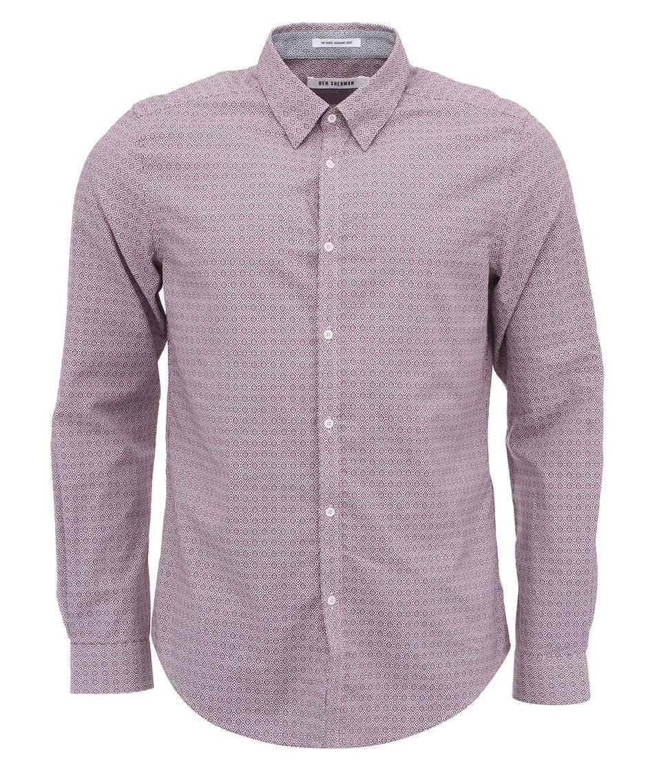 Šedo-červená vzorovaná košile Ben Sherman