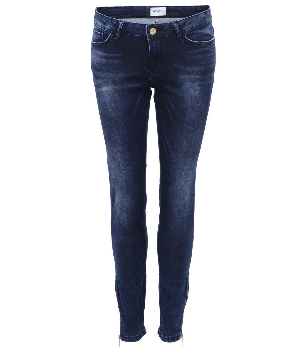 Tmavě modré skinny džíny se zipy na nohavicích Vero Moda Flash