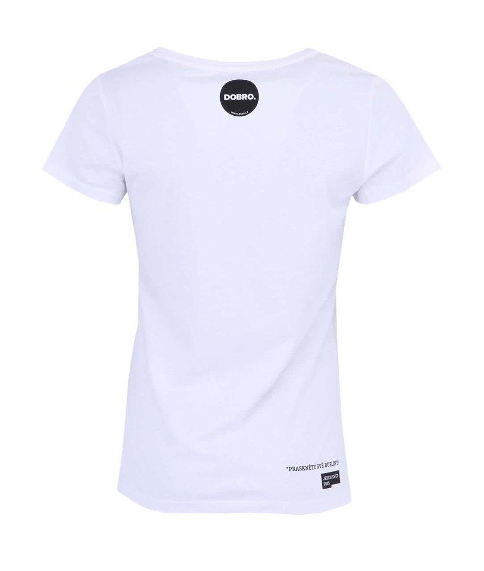 """""""Dobré"""" bílé dámské tričko s kapsičkou Jeden svět"""