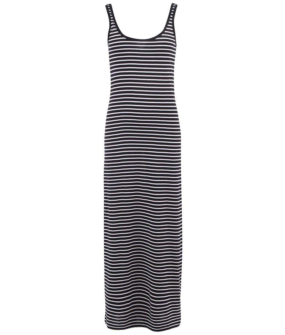 Černé dlouhé šaty s bílými pruhy Vero Moda Nanna