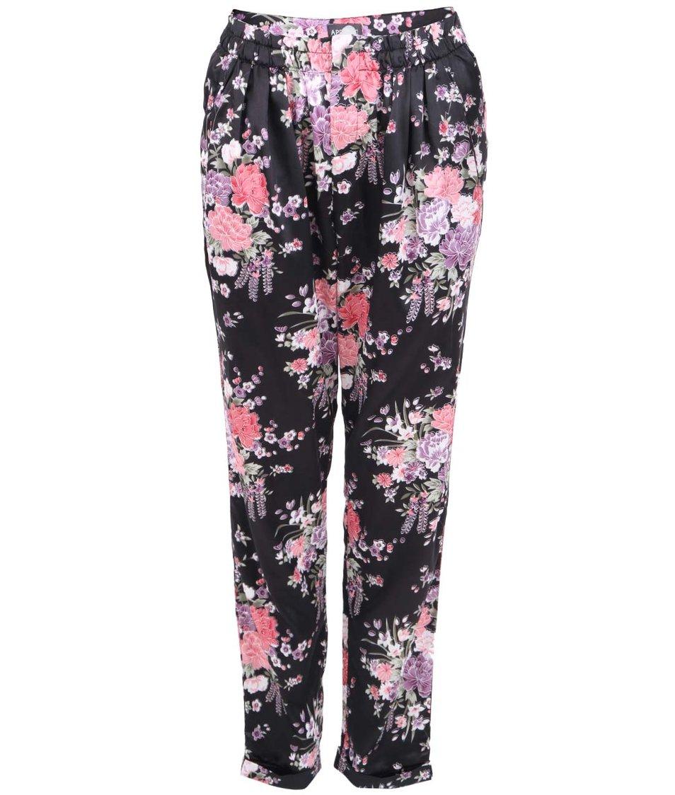 Černé květované kalhoty v japonském stylu Apricot