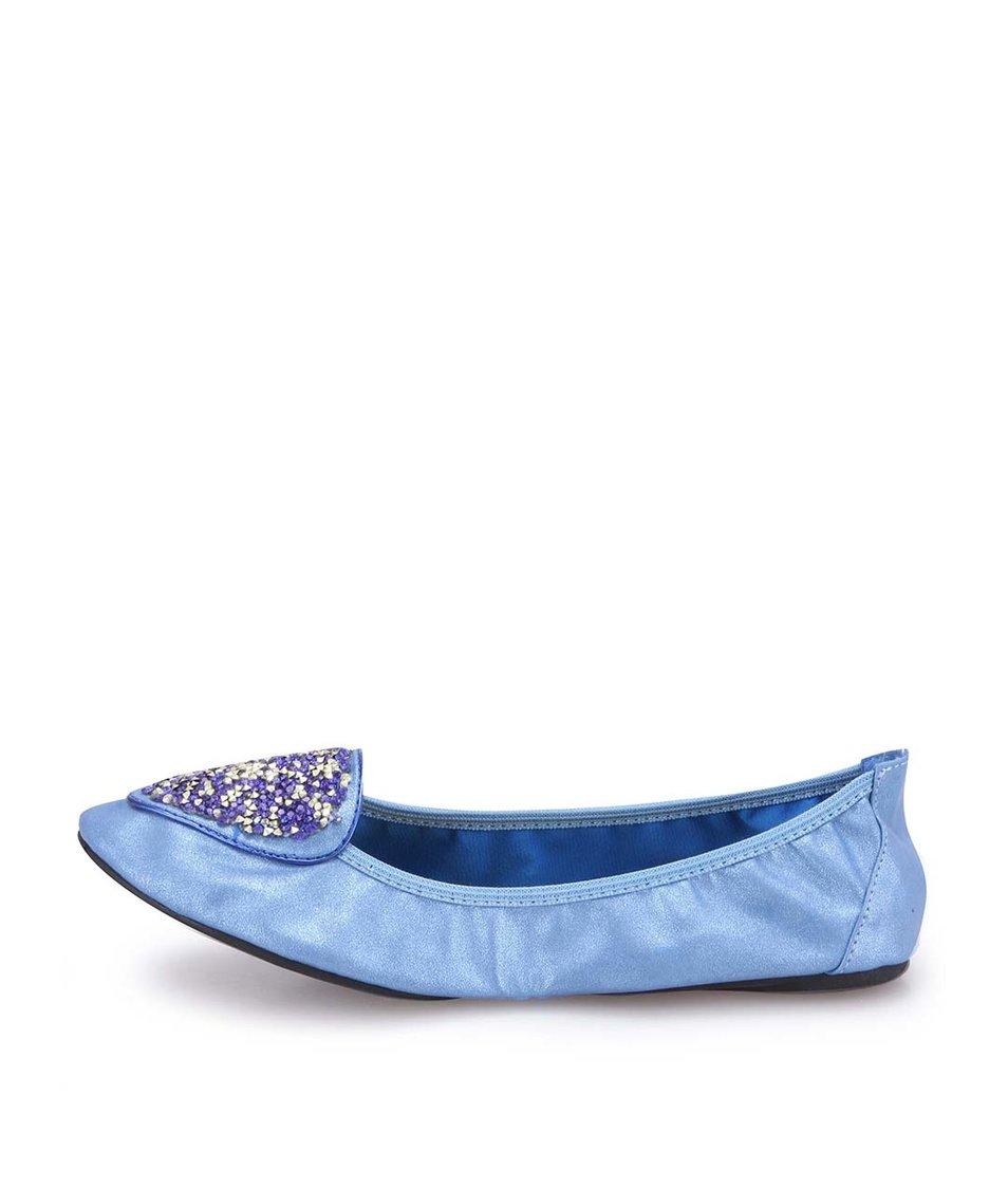 Modré zdobené balerínky do kabelky Cocorose London Islington