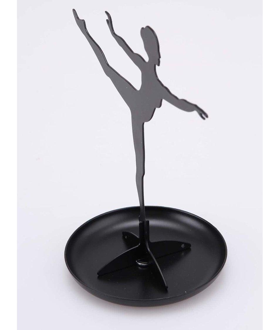 Černý stojan na šperky ve tvaru baletky Kikkerland Ballerina