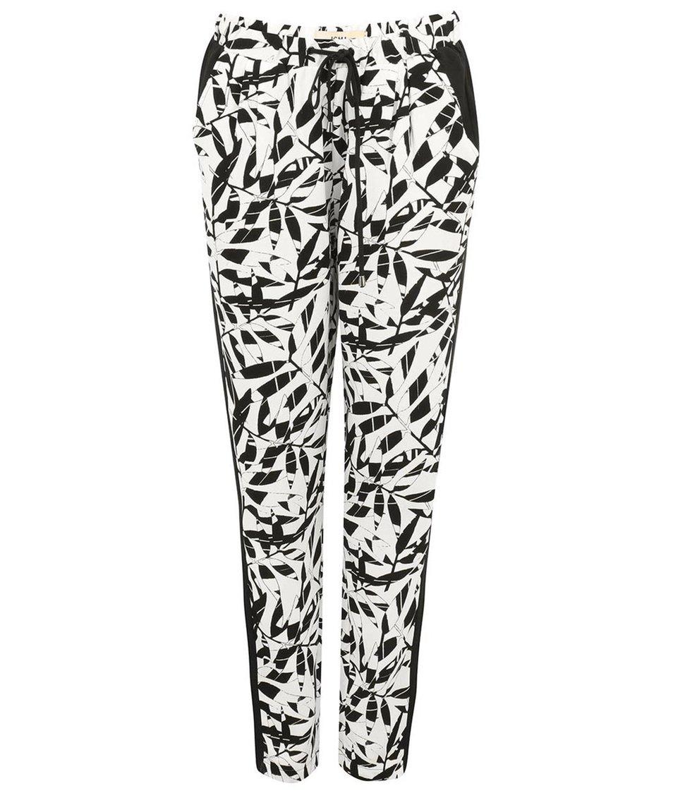 Černo-krémové volné kalhoty s lístky ICHI Betta