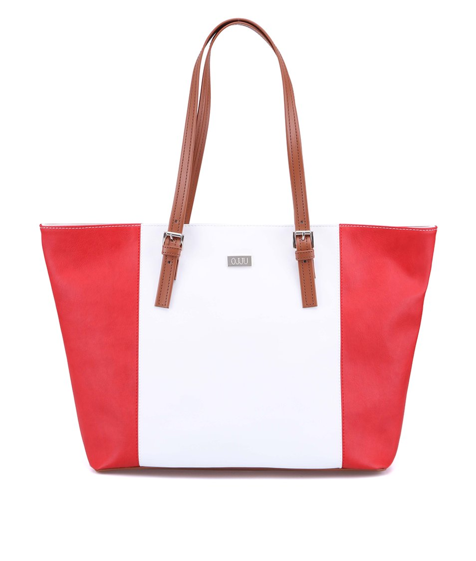 Bílo-červená kabelka s hnědými uchy OJJU