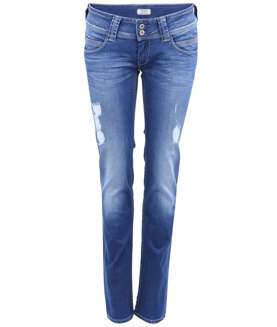 Tmavě modré dámské džíny s dírami Pepe Jeans Venus