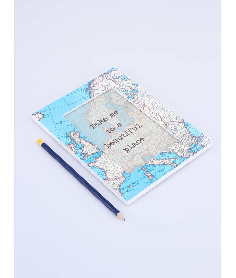 Modrý rámeček na fotku Sass & Belle Vintage Map
