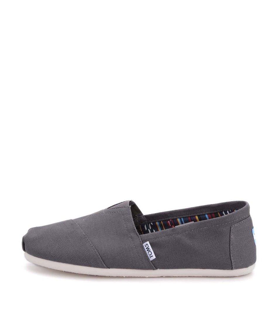 Tmavě šedé pánské loafers TOMS Classic
