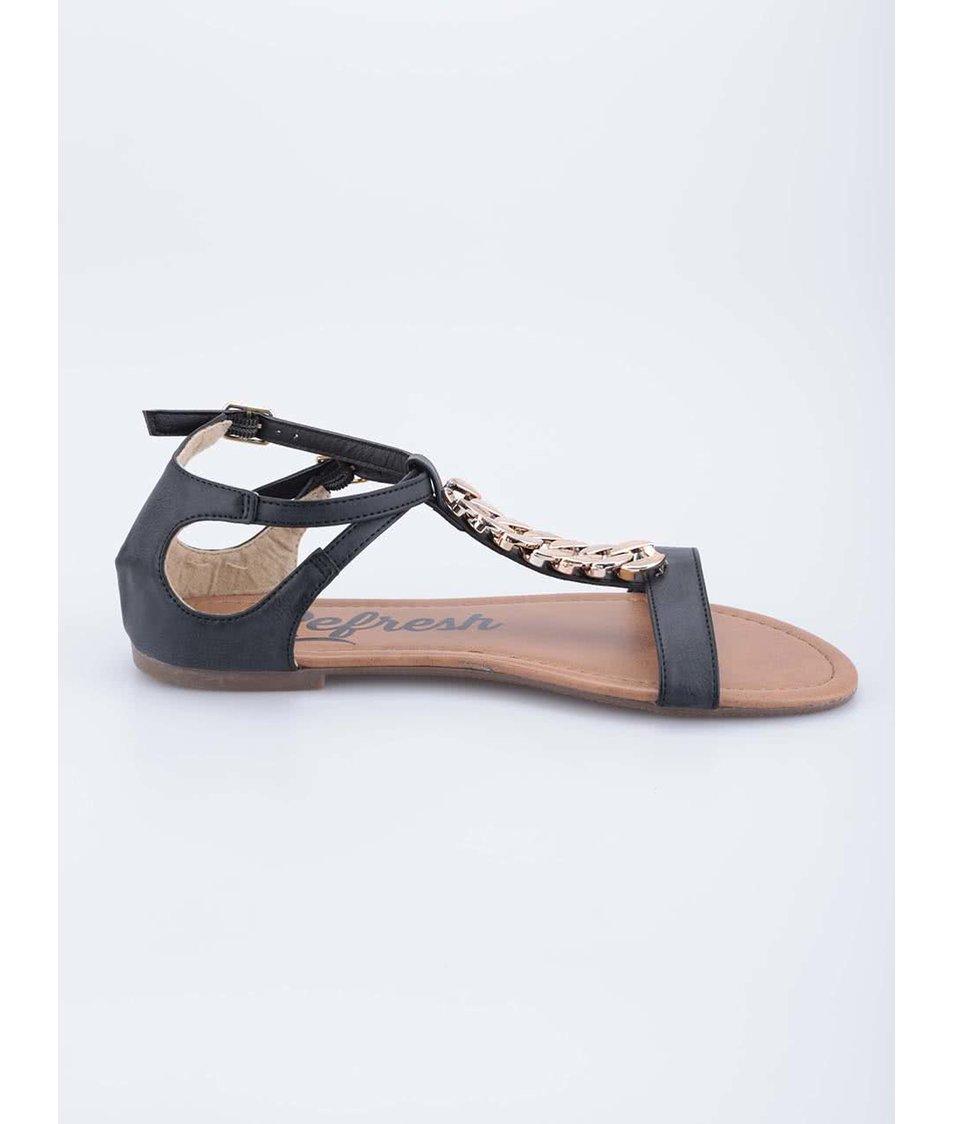 Černé sandály s řetízkem ve zlaté barvě Refresh
