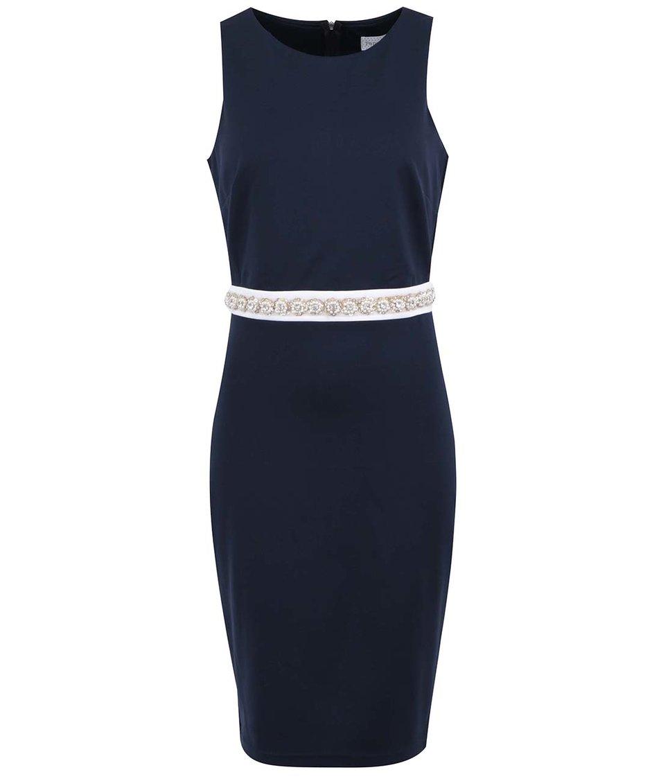Tmavě modré šaty se zdobeným pasem Paper Dolls