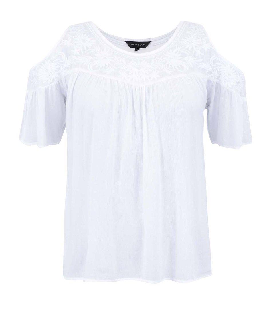 Bílý top s průstřihy na ramenou New Look
