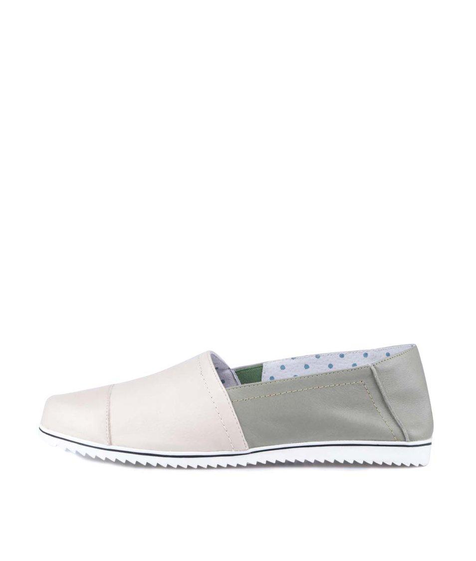 Béžovo-zelené kožené loafers OJJU