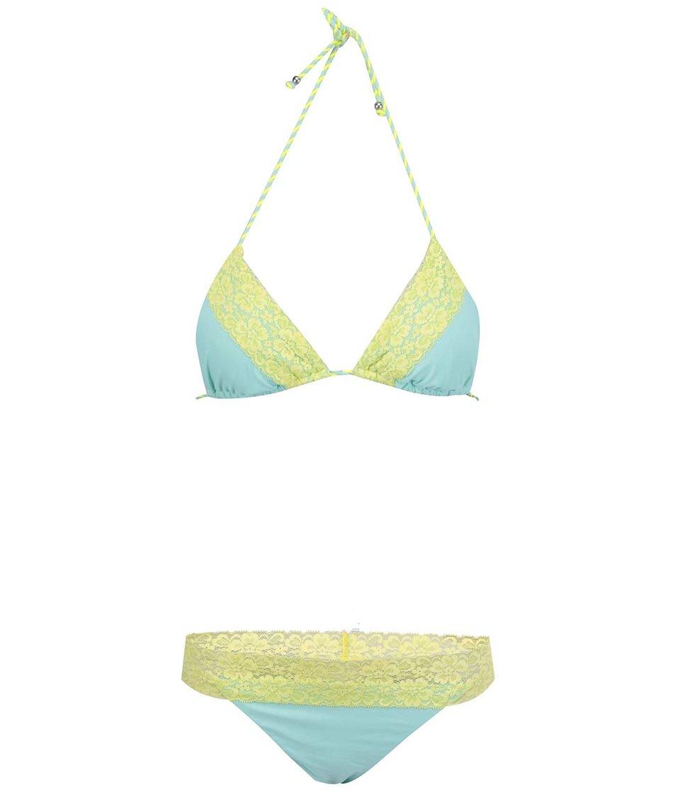 Zelené plavky s žlutou krajkou Relleciga Lace