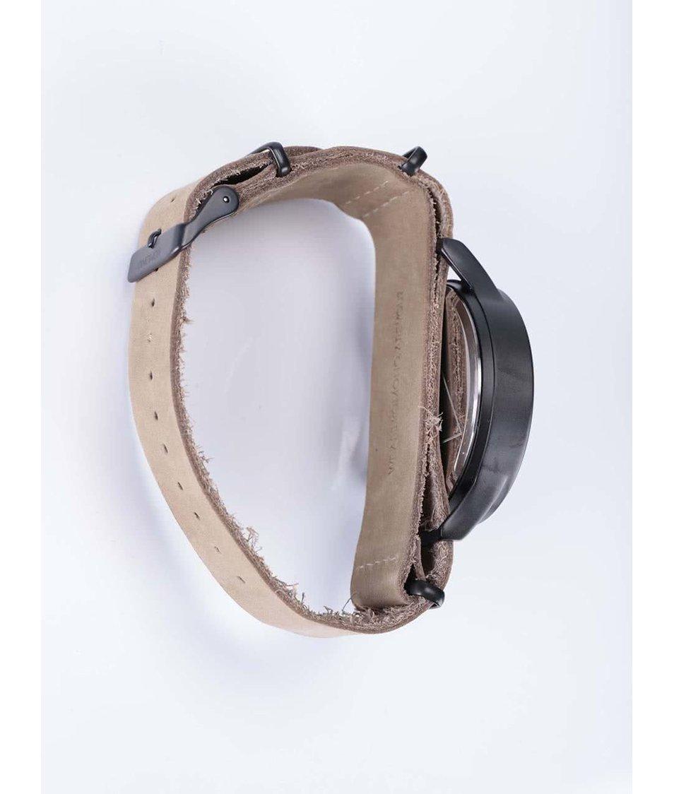 Černo-béžové pánské hodinky s koženým řemínkem Komono Magnus