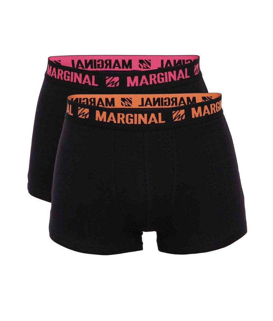 Sada dvou černých boxerek s oranžovým a růžovým nápisem Marginal