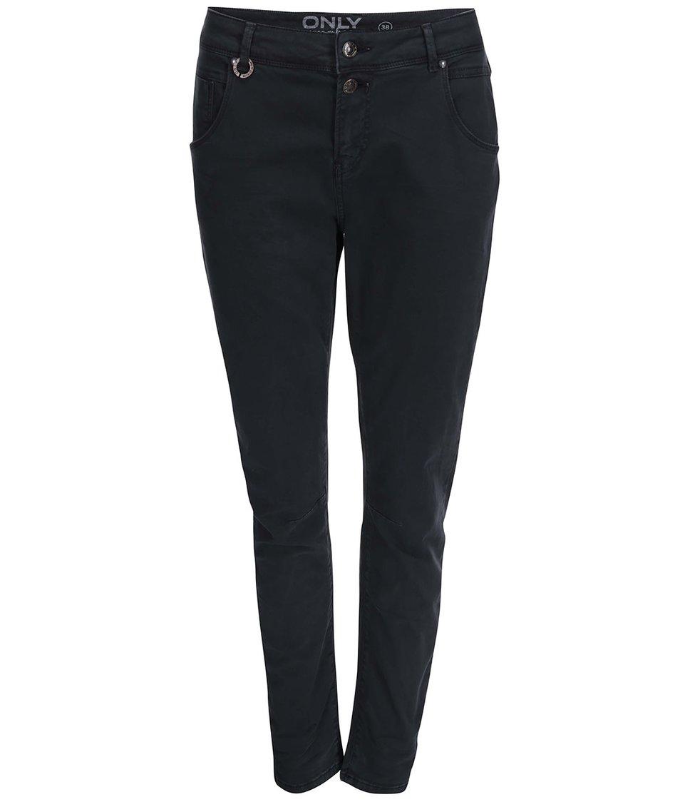 Tmavě šedé kalhoty s vyšším pasem ONLY Lise