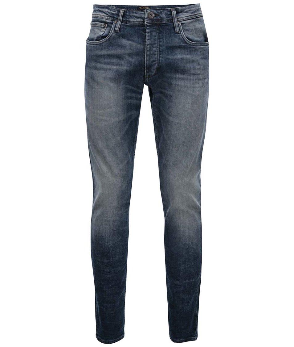 Modré džíny s odřeným efektem Jack & Jones Glenn