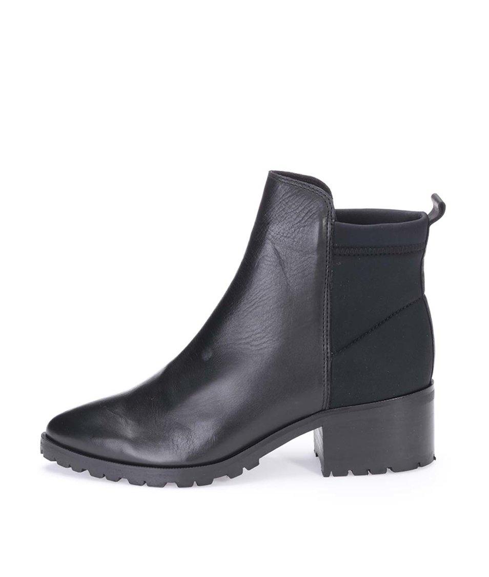 Černé kožené chelsea boty Pieces Valah