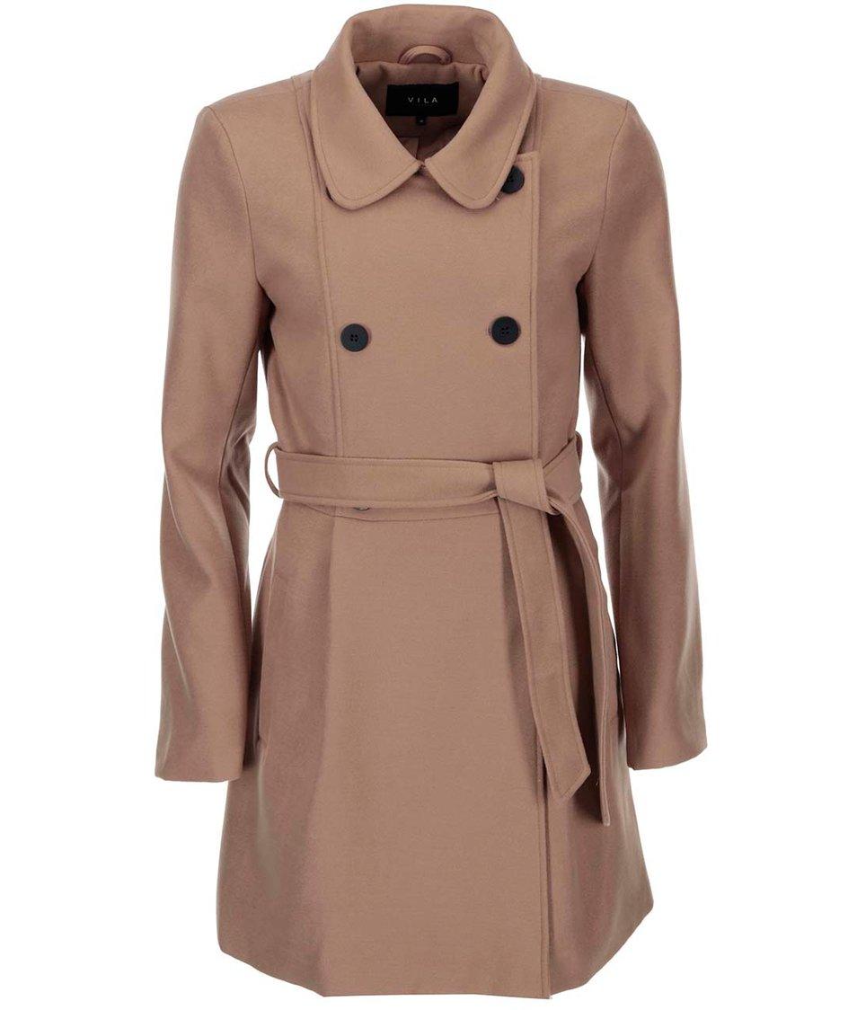 Světle hnědý dlouhý kabát VILA Kimra