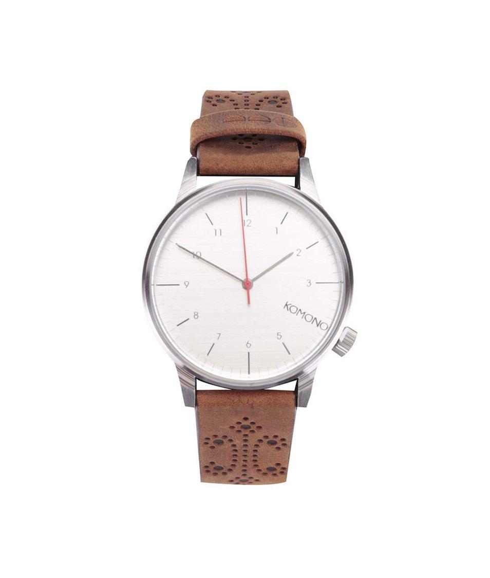 Hnědé unisex hodinky s brogue koženým páskem Komono Winston Brogue
