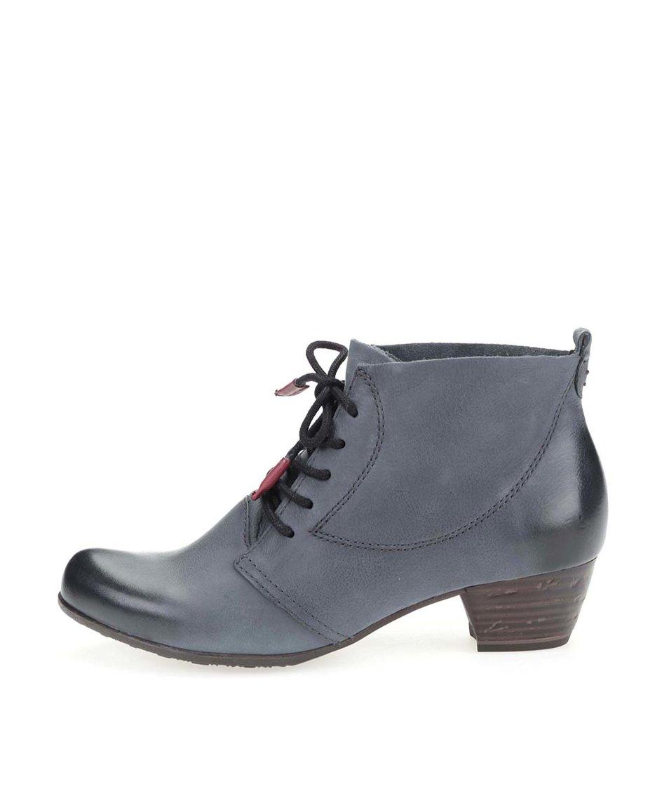 Modrošedé kožené kotníkové boty na podpatku Tamaris