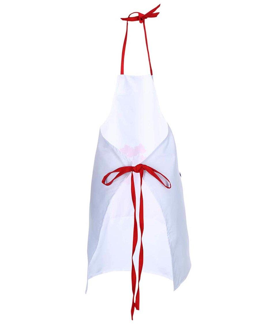 """""""Dobrá"""" červeno-bílá kuchyňská zástěra s potiskem Zachraň jídlo"""