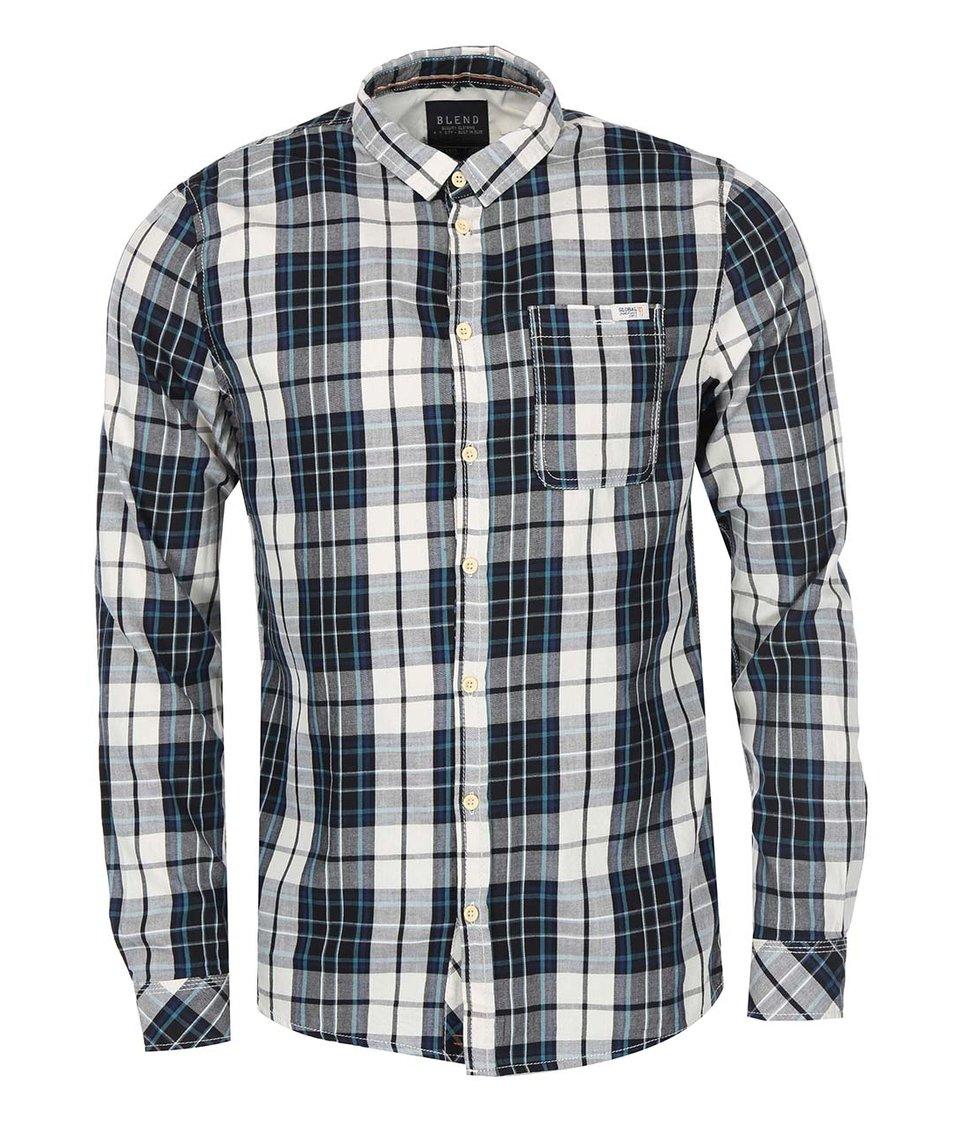 Šedo-černá kostkovaná košile s modrými pruhy Blend