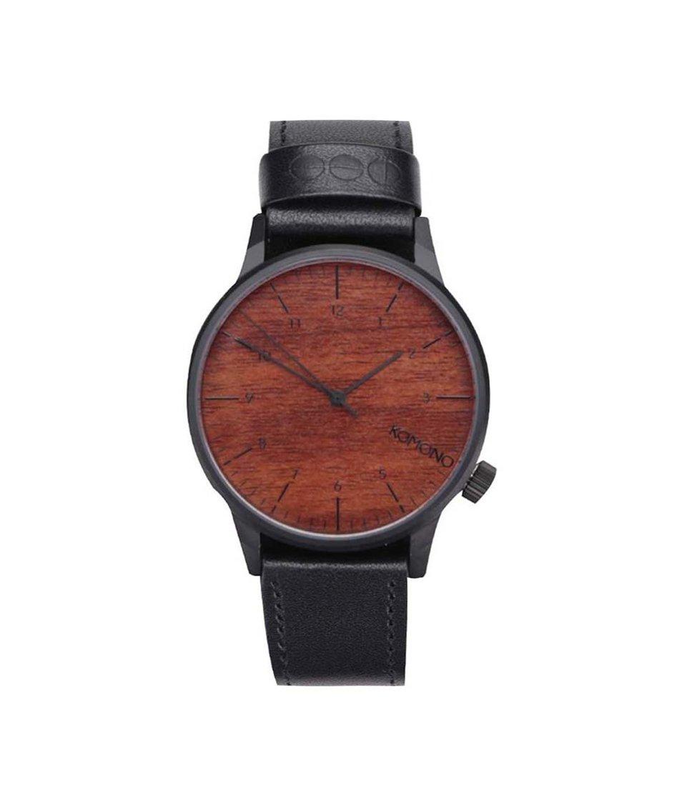 Hnědé pánské hodinky s černým koženým páskem Komono Winston