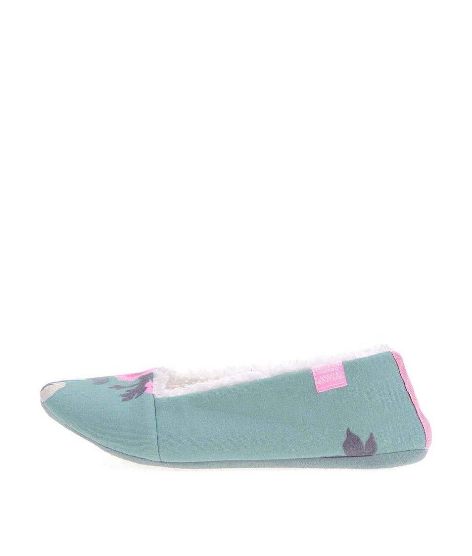 Zelené papuče s květy Tom Joule Dreama