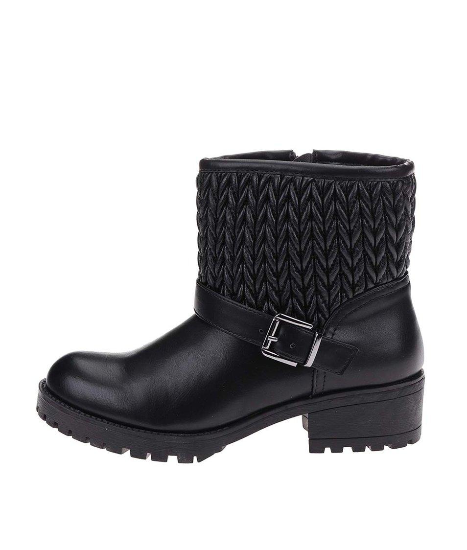 Černé kotníkové boty Pieces Vania