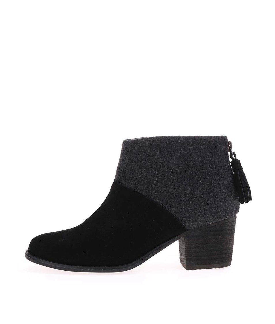Šedo-černé dámské kožené boty na nízkém podpatku TOMS Leila