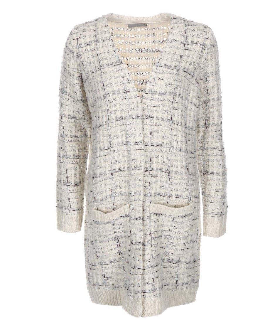 Krémový dlouhý cardigan s šedým proplétáním Vero Moda Charlotte