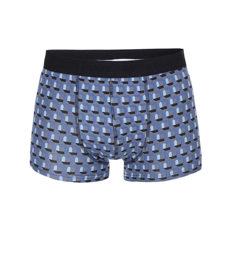 Šedé boxerky s modrým vzorem ONLY & SONS Sergio