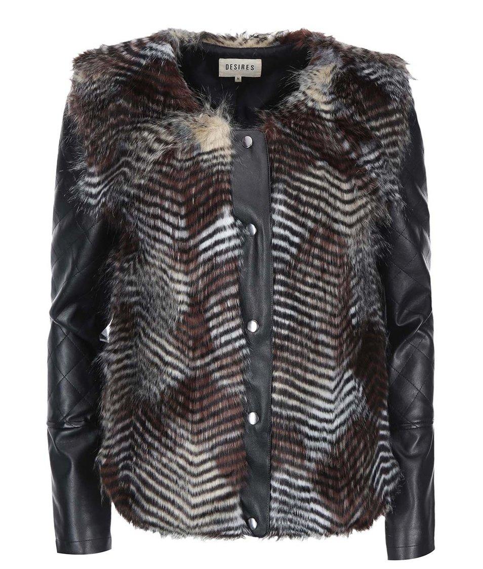 Čierna koženková bunda s umelým kožúškom Desires Liona