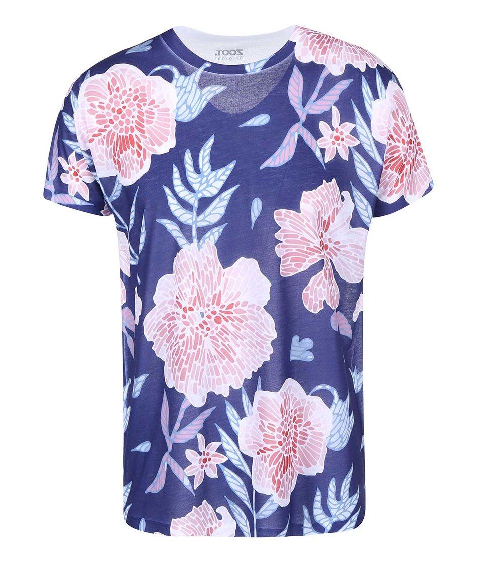 Modré pánske tričko s ružovými kvetmi ZOOT Originál Květiny
