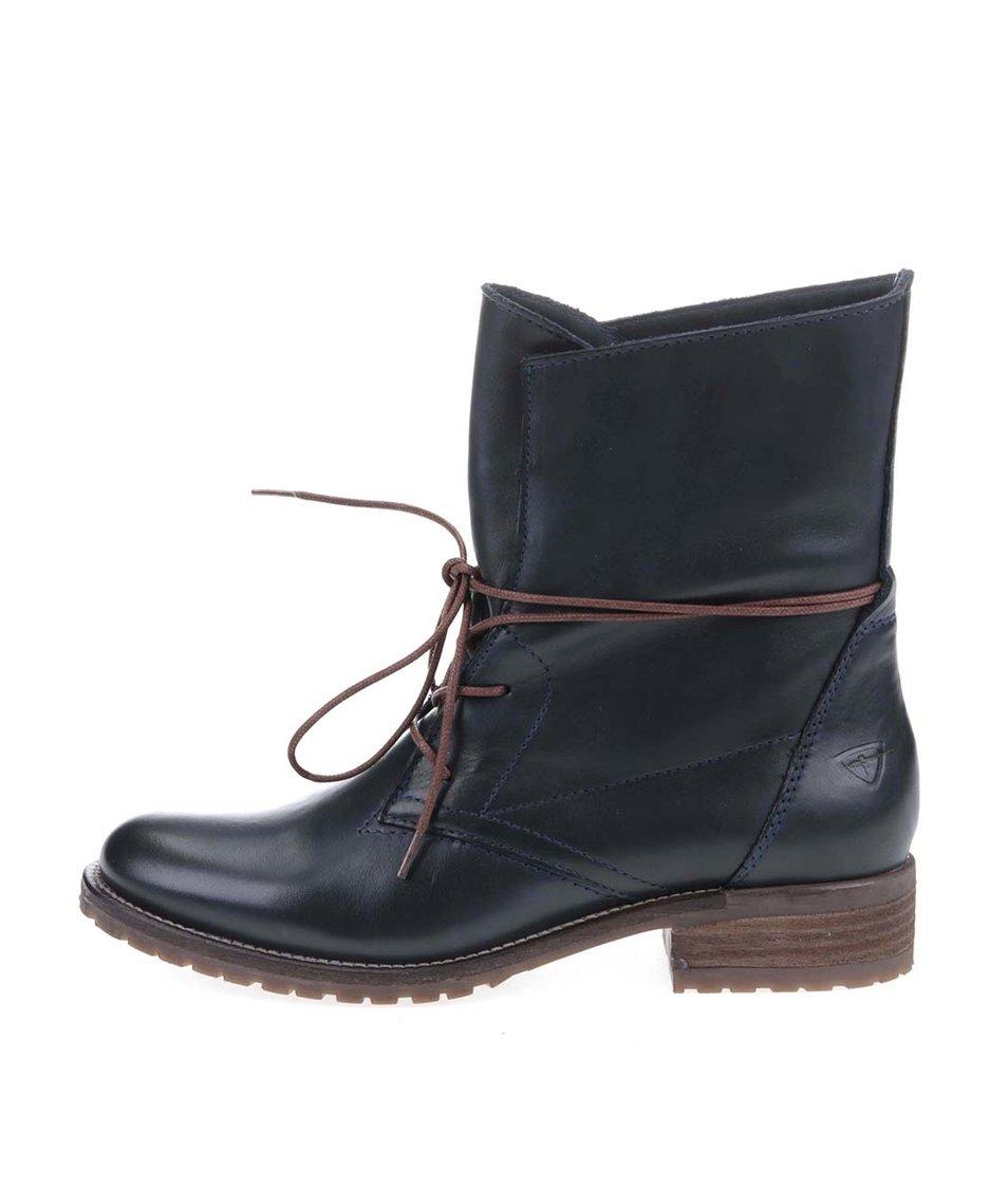 Modré kožené kotníkové boty Tamaris