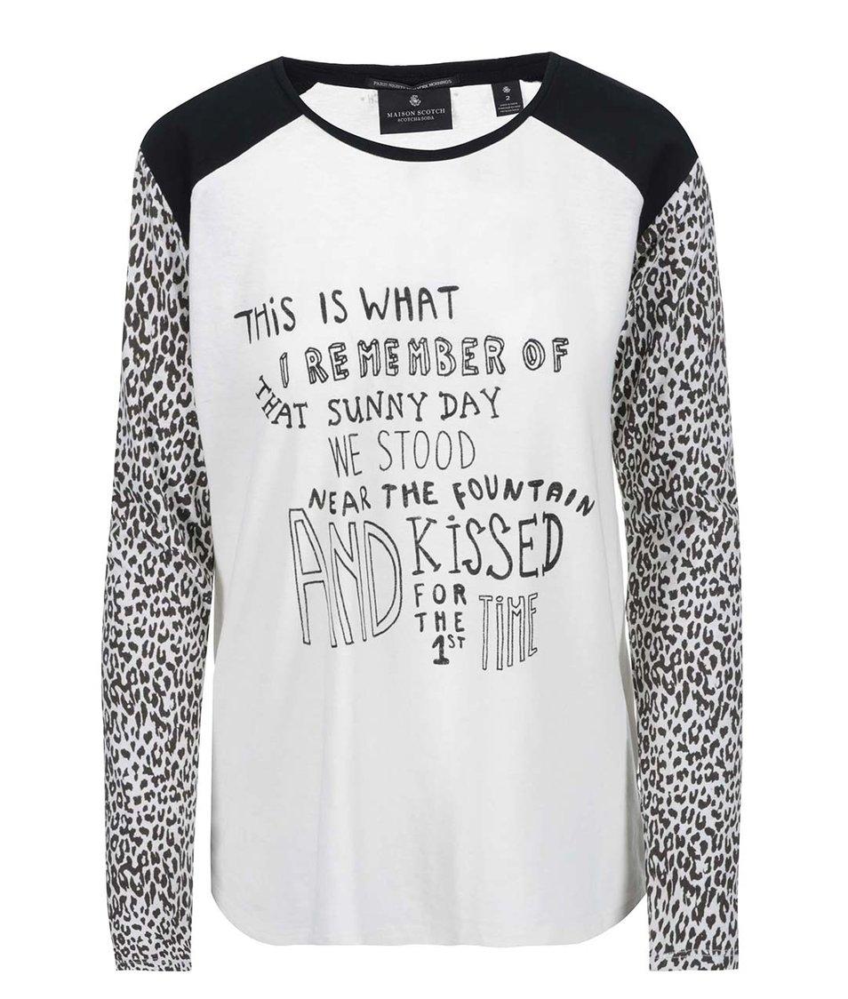 Černo-bílé tričko s dlouhým rukávem s leopardím vzorem Maison Scotch