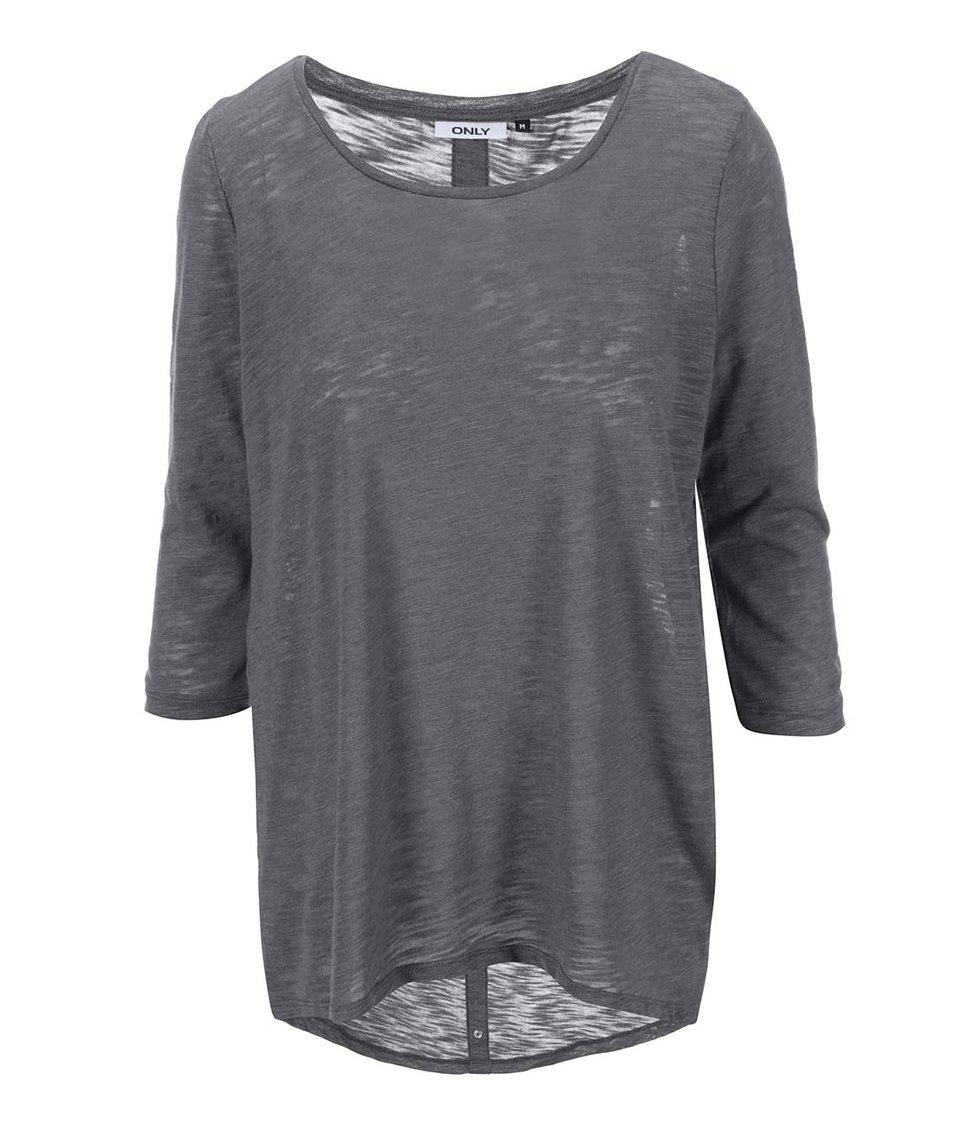 Tmavě šedý dámský top s 3/4 rukávem ONLY Casa