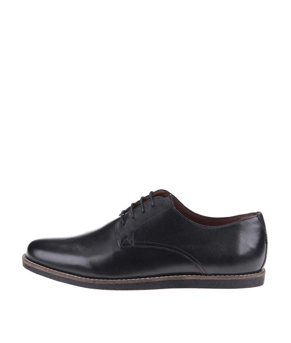 Černé kožené boty Frank Wright Trinder