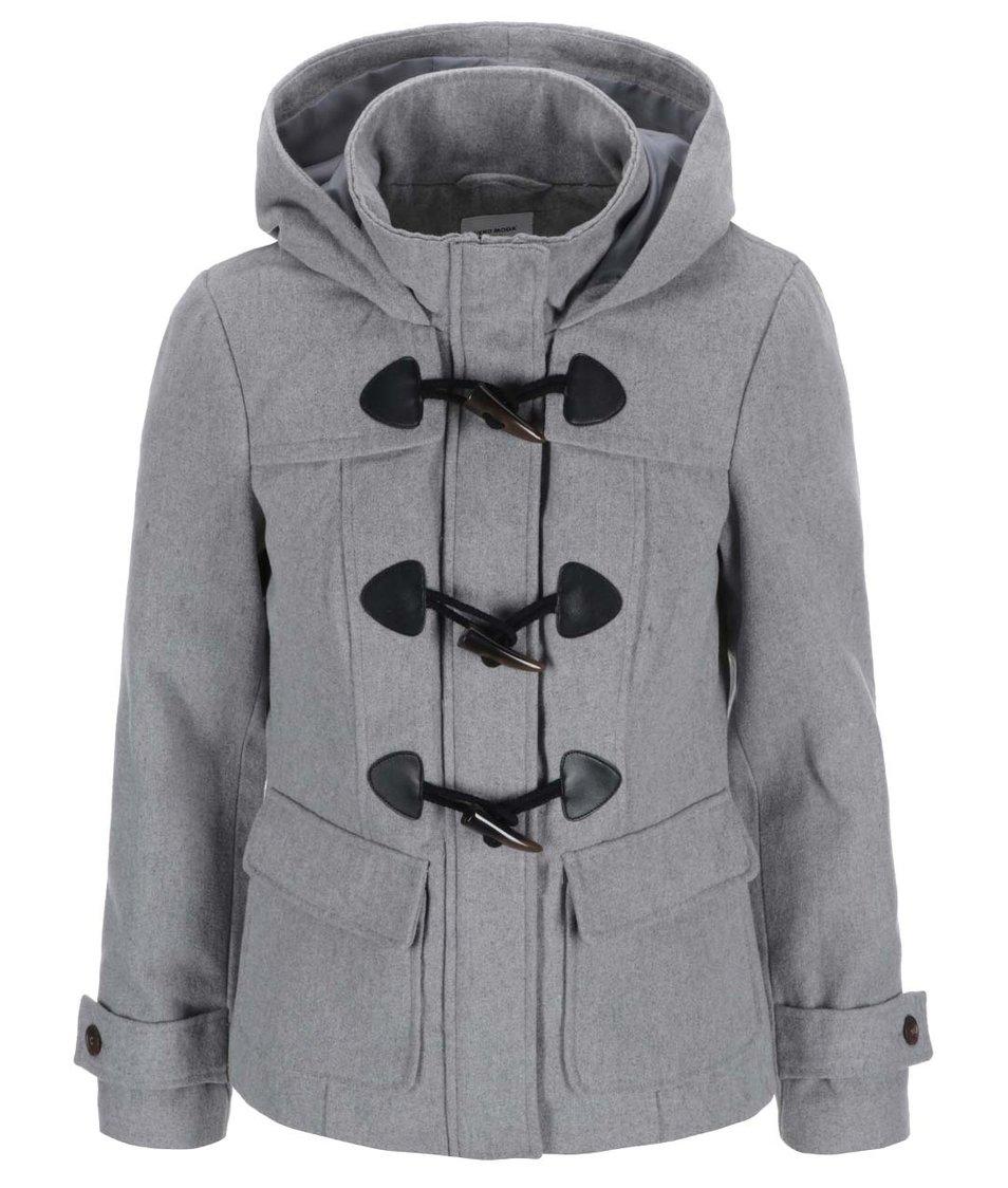 Šedý kratší kabát s kapucí Vero Moda Mella