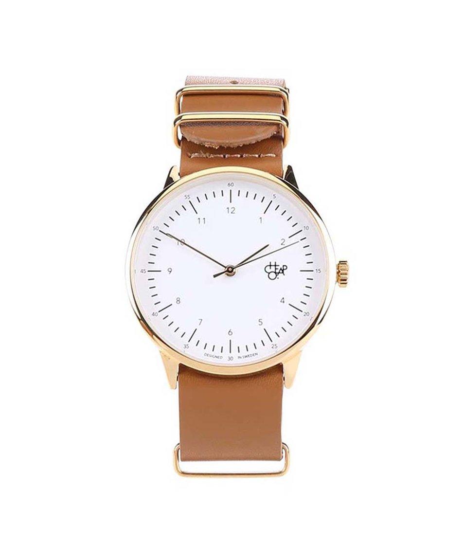 Hnědé unisex hodinky s koženým páskem Cheapo Harold Gold